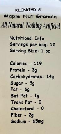 Klingers Vermont Maple Nut Granola Nutritional Facts