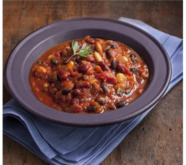 Three Bean Chili with Maple Syrup